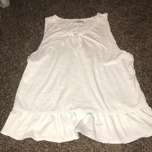 Large white Abercrombie and Fitch peplum tank